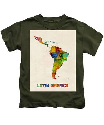 Latin America Watercolor Map Kids T-Shirt