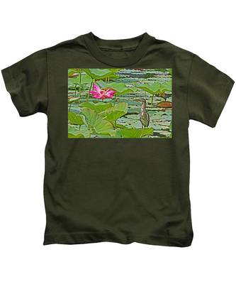 Lotus Blossom And Heron Kids T-Shirt