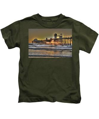 Kids T-Shirt featuring the photograph Oceanside Pier Hdr  by Bridgette Gomes