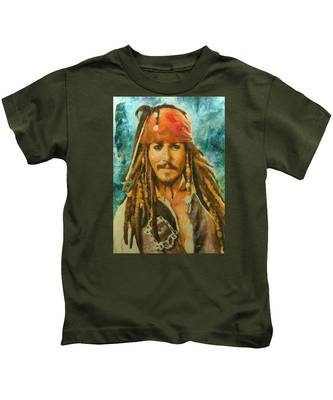 Portrait Of Johnny Depp Kids T-Shirt