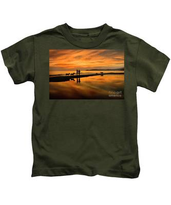 Silhouette And Amazing Sunset In Thassos Kids T-Shirt