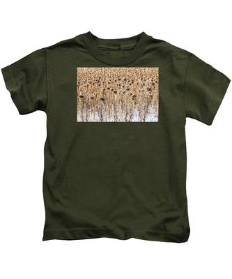 Sunflowers In Snow Kids T-Shirt