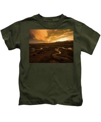 Sunrise Over Winding Rivers Kids T-Shirt