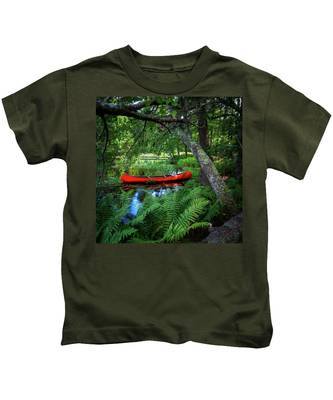 The Red Canoe On The Lake Kids T-Shirt