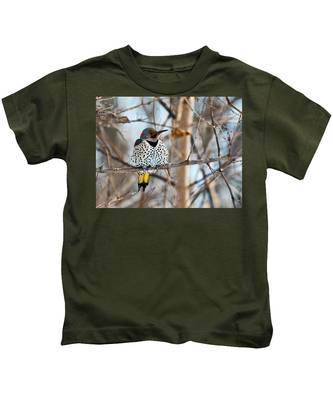 Yellow-shafted Northern Flicker Staying Warm Kids T-Shirt