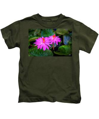 Kids T-Shirt featuring the digital art Abstracted Water Lilies by Endre Balogh