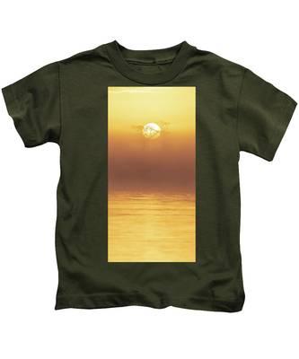 Foggy Wetlands Sunrise Kids T-Shirt