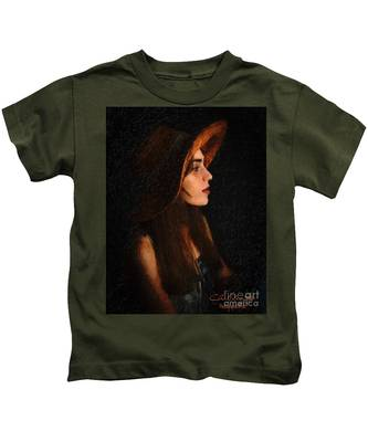 Girl In Hat Kids T-Shirt
