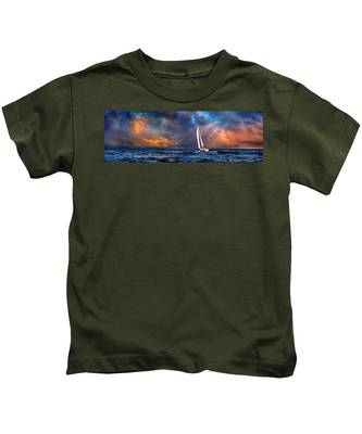 Kids T-Shirt featuring the photograph Sailing The Winedark Sea by Endre Balogh