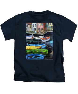 Boats In Front Of The Buildings II Kids T-Shirt