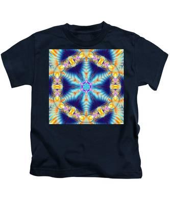 Kids T-Shirt featuring the digital art Cosmic Spiral Kaleidoscope 36 by Derek Gedney