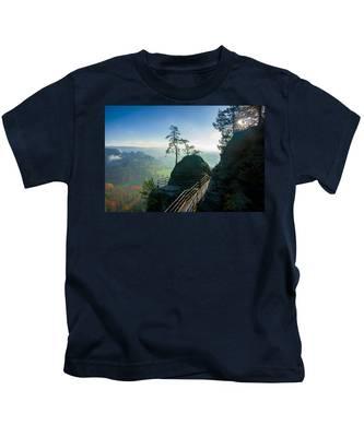 Misty Sunrise On Neurathen Castle Kids T-Shirt