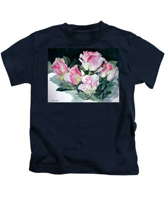 Watercolor Of A Pink Rose Bouquet Celebrating Ezio Pinza Kids T-Shirt