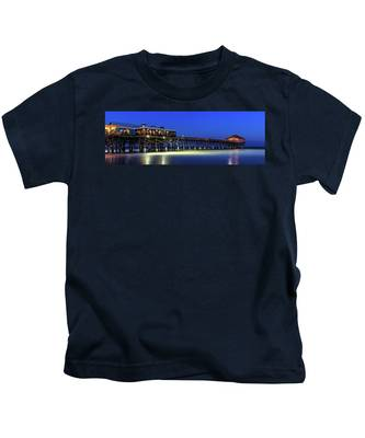 Cocoa Beach Pier At Twilight Kids T-Shirt