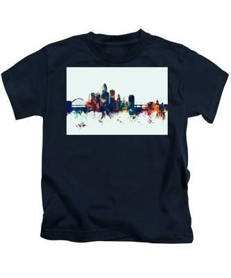 Des Moines Iowa Skyline Kids T-Shirt