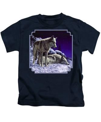 Gray Wolves Kids T-Shirts