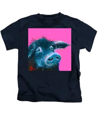 Black Pig Painting On Pink Background Kids T-Shirt