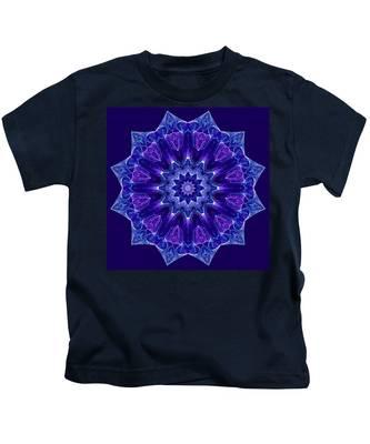 Blue And Purple Mandala Fractal Kids T-Shirt