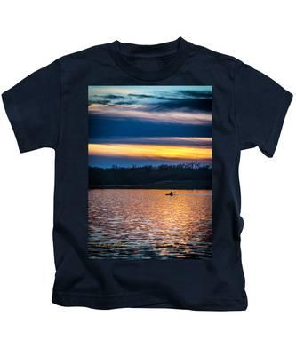 Kayak Sunset Kids T-Shirt
