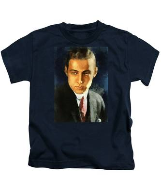 Portrait Of Rudolph Valentino Kids T-Shirt