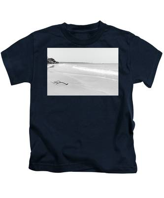 Sand Meets The Sea In Black And White Kids T-Shirt