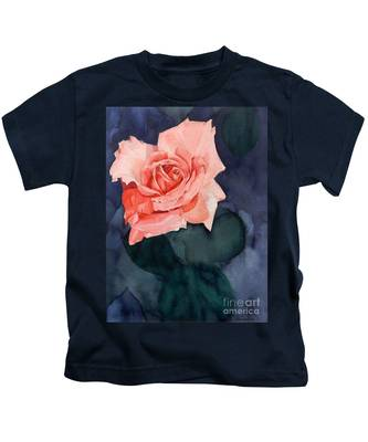 Watercolor Of A Magic Bright Single Red Rose Kids T-Shirt