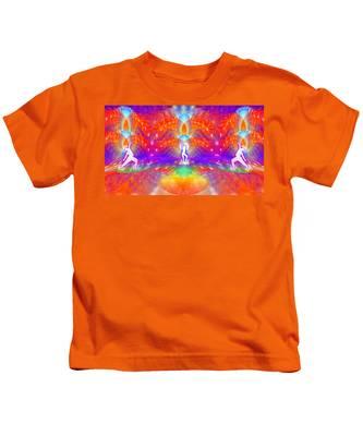 Kids T-Shirt featuring the digital art Cosmic Spiral Ascension 53 by Derek Gedney