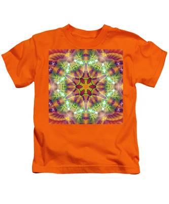 Kids T-Shirt featuring the digital art Cosmic Spiral Kaleidoscope 42 by Derek Gedney