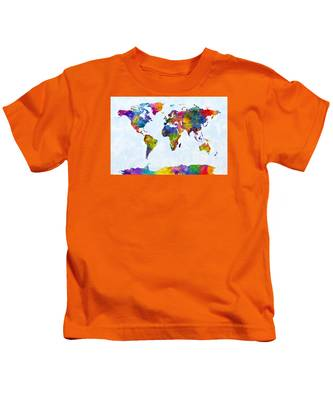 Watercolor Map Of The World Map Kids T-Shirt