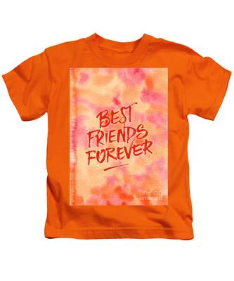 Best Friends Forever Handpainted Abstract Watercolor Pink Orange Kids T-Shirt