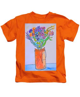 Flowers In An Orange Mason Jar Kids T-Shirt