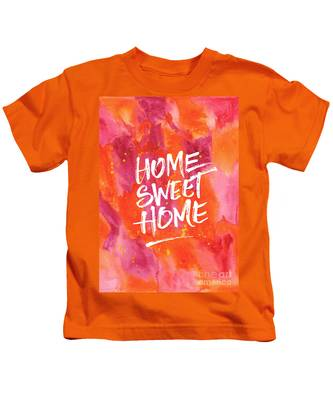 Home Sweet Home Handpainted Abstract Orange Pink Watercolor Kids T-Shirt