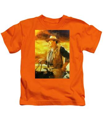 Portrait Of John Wayne Kids T-Shirt