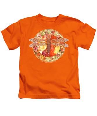 Warm Celtic Dragonfly Kids T-Shirt
