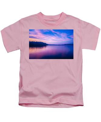 Sunset During Blue Hour At The Lake Kids T-Shirt