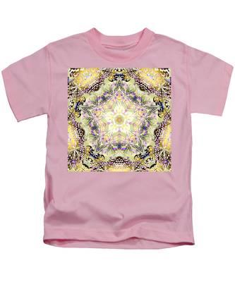 Kids T-Shirt featuring the digital art Digmandala Simha by Derek Gedney