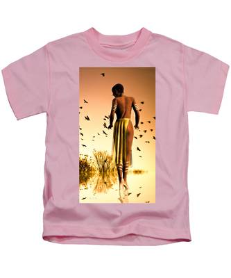 Her Morning Walk Kids T-Shirt