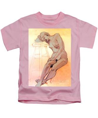 Nude Woman Leaning On A Barstool Kids T-Shirt