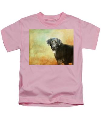 Portrait Of A Black Labrador Retriever Kids T-Shirt