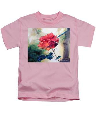 Watercolor Of A Single Red Rose On A Branch Kids T-Shirt