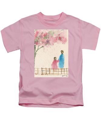 Cherry Blossom Tree Over The Bridge Kids T-Shirt