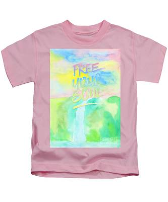 Free Your Soul Watercolor Colorful Spring Waterfall Painting Kids T-Shirt