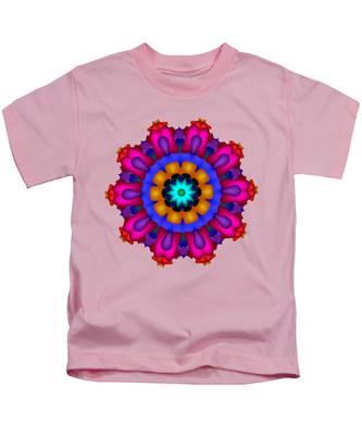 Glowing Fractal Flower Kids T-Shirt