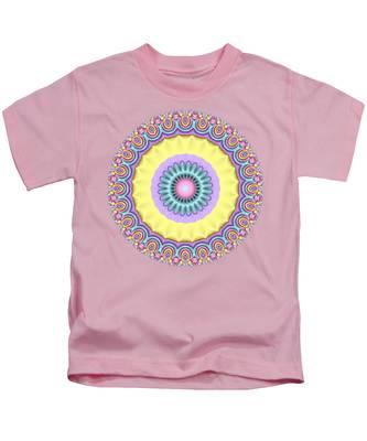 Pastel Peacock Fractal Flower Kids T-Shirt
