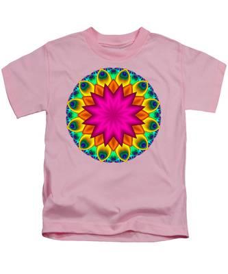 Peacock Fractal Flower I Kids T-Shirt