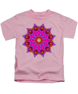 Peacock Fractal Flower II Kids T-Shirt