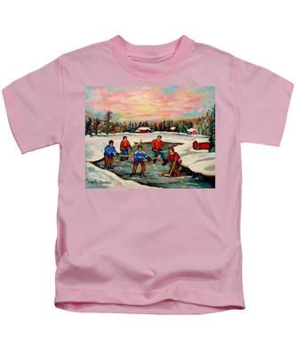Boys Playing Hockey Kids T-Shirts
