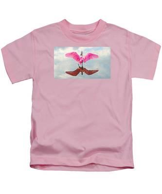 Roseate Spoonbill Pink Angel Kids T-Shirt