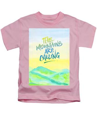 The Mountains Are Calling Yellow Blue Sky Watercolor Painting Kids T-Shirt