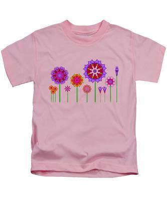 Whimsical Fractal Flower Garden Kids T-Shirt